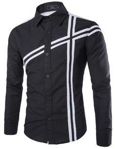 Trendy Slimming Shirt Collar Color Block Stripe Splicing Long Sleeve Polyester Shirt For Men African Shirts For Men, African Clothing For Men, African Men Fashion, Fashion Men, Fashion Brand, Stylish Shirts, Casual Shirts For Men, Men Casual, Gents Kurta