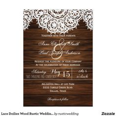 Lace Doilies Wood Rustic Wedding Invitations V