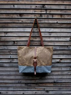 Waxed canvas bag / tote bag with  leather handles by treesizeverse, $129.00