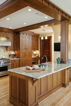 Craftsman Kitchen Quarter-sawn white oak and green ceramic tiles give an authentic Craftsman look to this Wisconsin kitchen. Rustic Kitchen, New Kitchen, Vintage Kitchen, Kitchen Decor, Kitchen Ideas, Decorating Kitchen, 1950s Kitchen, Country Kitchen, Kitchen Layout