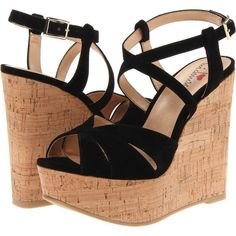 Luichiny Bre Anna Women's Wedge Shoes, Black ($38) ❤ liked on Polyvore featuring shoes, sandals, wedges, heels, black, black wedge sandals, cork wedge sandals, wedges shoes, black platform sandals и peep toe sandals