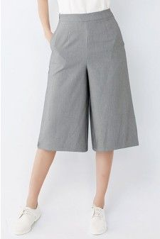 High-Rise Culotte Pants in Grey Price: USD 23.9+Free Shipping #greycolor #grey #gray #greyculottes