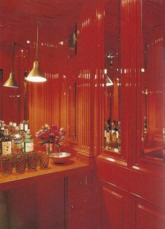 Tory Burch Red Bar via Habitually Chic by Courtney Price for #WallPinWednesday > lacquer walls, interior design, design
