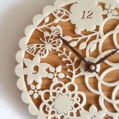 doily clock: pretty unique doily effect clock