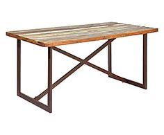 Tavolo in legno massello e metallo effetto etnico - 160x76x90 cm