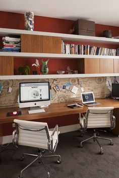 Contemporary home office design ideas. Whether you are intending on adding a home office or renovating an old space into one, right here are some fantastic home office design ideas to aid you begin. Home Office Storage, Home Office Space, Office Workspace, Home Office Design, Home Office Decor, House Design, Home Decor, Office Ideas, Workspace Design
