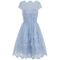 **Chi Chi London Cap sleeve Tea Dress ($119) ❤ liked on Polyvore featuring dresses, blue, embroidery dress, embroidered mesh dress, blue dress, blue mesh dress and cap sleeve dress