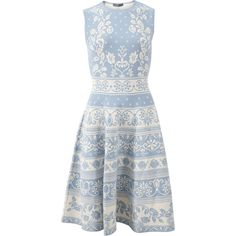 Alexander Mcqueen Spring Floral Jacquard Dress ($2,145) ❤ liked on Polyvore featuring dresses, floral pattern dress, blue floral dress, alexander mcqueen, slimming dresses and floral knee length dress