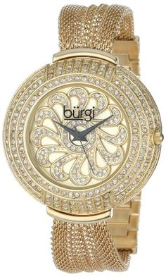 Burgi Women's BUR051YG Crystal Mesh Bracelet Watch -