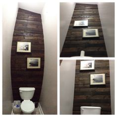 Pallet Accent Wall in Water Closet -  cut up about 7 pallets to get enough wood to cover the tall wall behind the toilet. Used one coat of stain on all the wood, but different types of wood give look of different amounts or colors. Nail gun all the pieces up and it's an easy way to make a big impact in a room that gets no love.  Small space now has a bold, yet rustic, impact.  Love it!