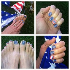 Red white & blue nails