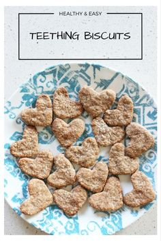 These homemade teething biscuits are so easy to make and babies love them. They are made with ingredients you have in your pantry already, are healthy and taste great (like banana bread). This is a great way to use up leftover baby rice cereal. Baby Cereal, Rice Cereal, Cereal Food, Cereal Recipes, Baby Food Recipes, Food Baby, Baby Teething Biscuits, Teething Cookies, Banana And Rice