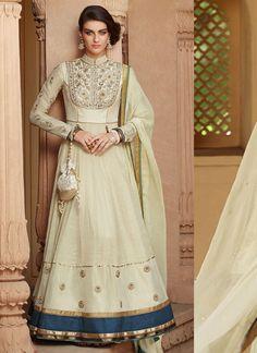 Cream Tussar Silk Long Length Designer Suit