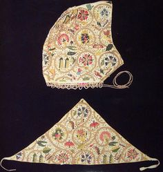 c1605, English. Embroidered Coif and Forehead Piece