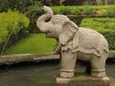 Large Elephant Fountain Statue by Geoffs Garden Ornaments. Make a statement in your garden with this impressive water feature.