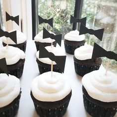 Black and White Baby Shower Theme | Bowtie Cupcake Toppers