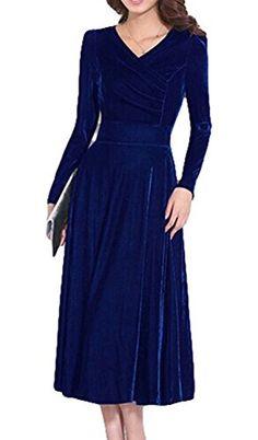 0b936ba823f LIMATRY Women s V-neck Long-sleeved Noble Gold Velvet Dress (4