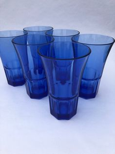 6 Cobalt Blue Glass Drinking Glasses, Retro Cobalt Blue Glassware, 6 Old Fashioned Glasses perfect for your Blue Kitchen and Blue Barware Blue Drinking Glasses, For You Blue, Vintage Glassware, Cobalt Blue, Dinnerware, Shot Glass, Kitchen Reno, Tumblers, Tableware