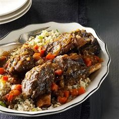 Gingered Short Ribs with Green Rice Recipe -I love the flavors of Korean cuisine, so I created short ribs for the slow cooker. The dish is beautiful, too! — Lily Julow, Lawrenceville, Georgia
