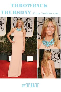 * Bold and Beautiful Is The Stunning Heidi Klum.  At the 2012 Golden Globe Awards, she wore a beautiful turquoise and diamond necklace by Lorraine Schwartz worth US $1million, as well as the matching ring and earrings.