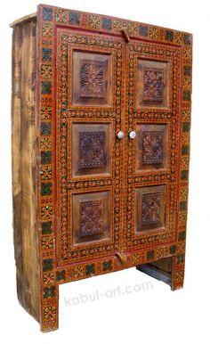 antiquelook Hand Carved orient vintage wooden cupboard high