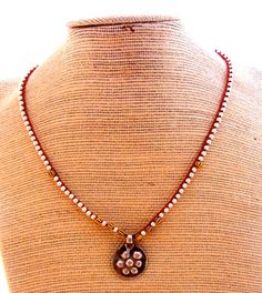 Tribal Woven waxed linen necklace with silver by MStreetStudio, $120.00