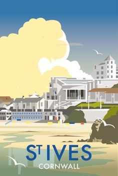Vintage poster of St Ives, Cornwall Posters Uk, Railway Posters, Art Deco Posters, Poster Retro, Poster Ads, Poster Prints, Travel Illustration, St Ives, Vintage Films