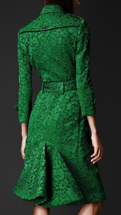 Gorgeous in Emerald Green ღ Kickback Lace Burberry Trench Coat in @Lola McGinnis