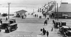 """Huntington Beach Pier, circa 1930 (by Orange County Archives) All future uses of this photo should include the courtesy line, """"Photo courtesy Orange County Archives. Las Vegas, California History, Southern California, Huntington Beach California, San Luis Obispo County, Surf City, San Clemente, History Photos, Orange County"""