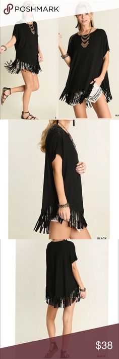 "IN STOCK Black fringed hem oversized tunic Short sleeve soft rayon material Relaxed fit oversized boxy tunic featuring fringed hemline Non-sheer Lightweight This tunic runs large, please see sizes listed below  Color: Black  Material: 95% Rayon, 5% Spandex SOFT and comfy  Measurements:  Length is approximately 32 inches with fringe included.  Small: Bust: 36'' to 48"" Armpit to Armpit : 24""  Medium: Bust: 49""-52"" Armpit to Armpit: 26""  Large: Bust: 53""-56"" Armpit to Armpit: 28"" Pink Peplum…"
