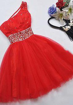 short prom dress // red / white