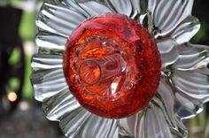 Repurposed Glass Flower Sun Catcher 'CELESTE' Glass Garden .................................. by theglasslotus (on Etsy.com)