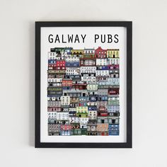 Illustrated print displaying all of Galway's interesting and unique pubs by Cowfield Design. Dublin Pubs, Famous Bar, The Tig, Temple Bar, Great Memories, Cozy House, I Shop, Print Design, Branding Design