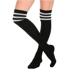 Black And White Cushioned Knee-High Crew Socks Hot Topic ($15) ❤ liked on Polyvore featuring intimates, hosiery, socks, cushioned socks, black white socks, padded socks, acrylic crew socks and knee high hosiery