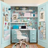 This idea from Country Living is genius! Transform a closet into an office. #countryliving #closet