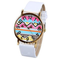 $3.75 Wave and Numbers Pattern Quartz Watch with Analog Indicate Leather Watchband for Women
