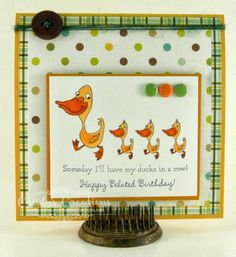 Candy Slabaugh creates a Belated Birthday Card featuring #CraftworkCards, #TayloredExpressions, #MayArts, #EchoPark