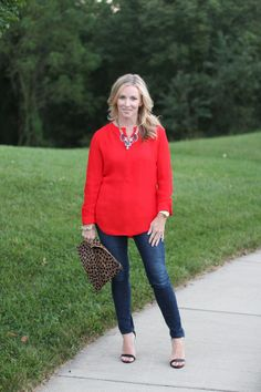 Red for a night out.  dark skinny jeans, statement necklace, strappy heels  http://www.simplylulustyle.com/2013/09/fab-fun-friend.html