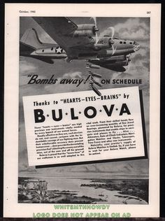 1943 WWII BOEING B-17 Flying Fortress WWII WW2 Bulova Aircraft Instruments AD