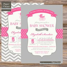 Girls baby shower invitation carriage, vintage, chevron stripe - printable, digital
