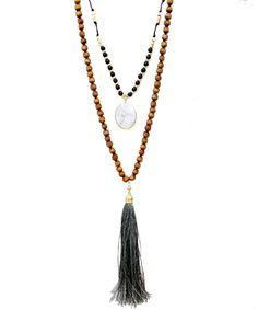 Boho Long  Suede Tassel Necklace Coachella Chic