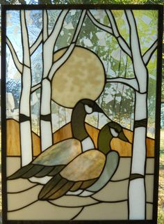 "Stained Glass Geese Aspen Trees Panel 14 5 8"" x 20 1 3"" New 