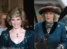 *PRINCESS DIANA & CAMILLA ~ Identical: The brooch (top right) featuring the three-feathered insignia of the Prince of Wales, is very similar to the necklace sported by Diana (left)