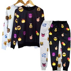 New Men's Women's 3D EMOJI funny print jogger Pants Sweatpants Tops Sweater Suit #Unbranded #SweatshirtCrew
