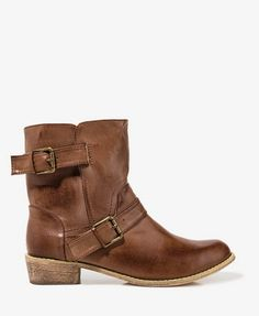 Distressed Faux Leather Booties | FOREVER 21 - 2018052263  Size 9