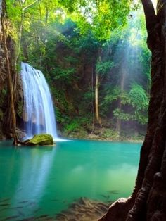 Erawan waterfalls in Erawan National Park in Thailand