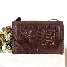 Vintage Mexican Hand Tooled Leather Clutch