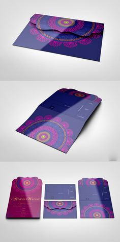 We like the colors and the detailed envelope, as well as the mandala. Creative Wedding Invitations, Indian Wedding Invitations, Wedding Invitation Inspiration, Wedding Stationary, Wedding Invitation Cards, Custom Invitations, Wedding Cards, Invites, Bollywood Party
