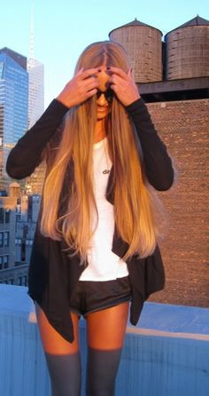 Long straight hair, middle part