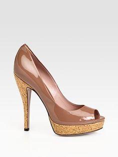 #Gucci - Lisbeth Patent Leather Platform Pumps